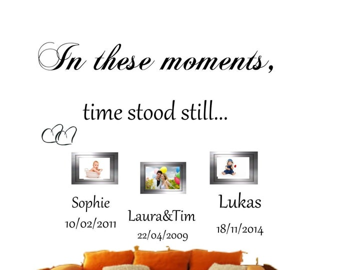 Wall tattoo wall sticker + + In these moments time stood still + + family wall tattoo personalized name date wall