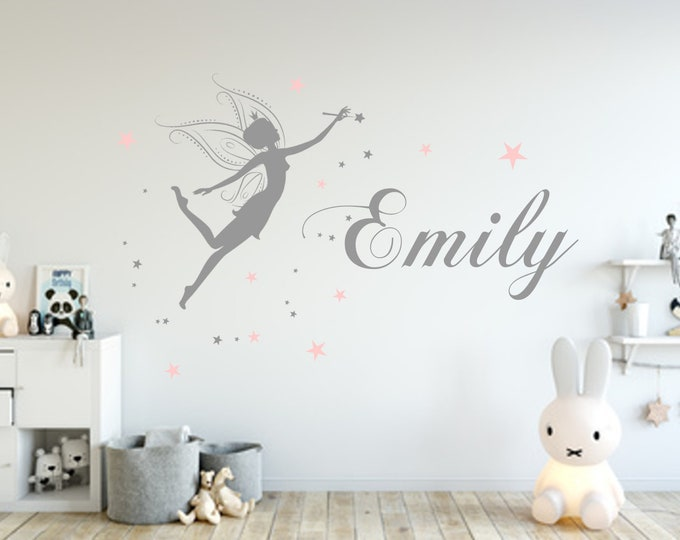 Wall decal girl fairy with name wall sticker many colors nursery