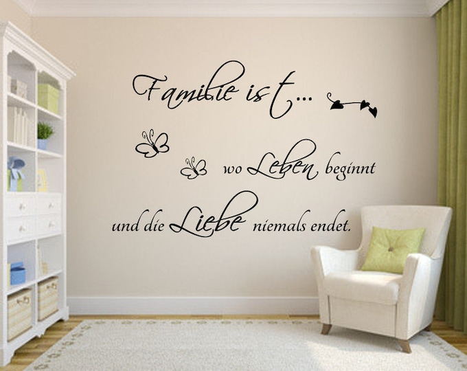 Wall tattoo wall tattoo living room saying + + family is where to live begins ..