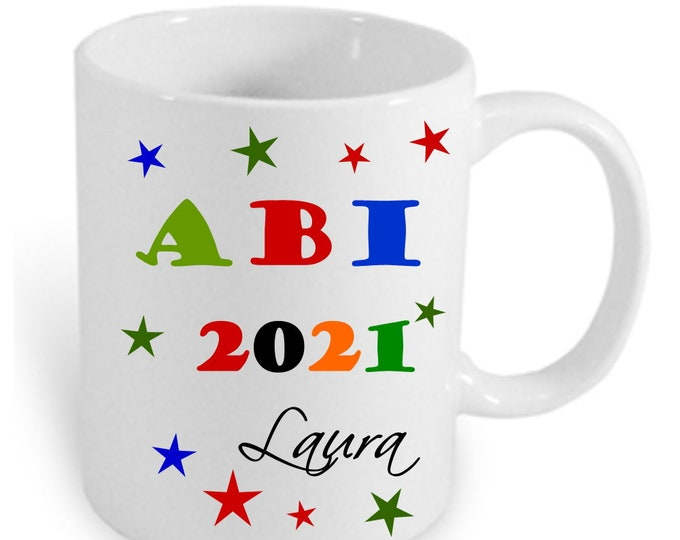 Abitur Gifts 2021 Cup Personalized with Name Colorful Printed Abi Gift Idea