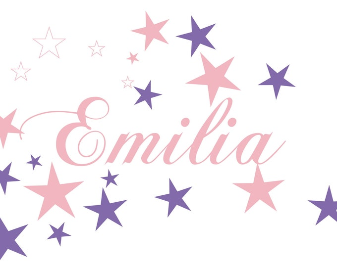 Wall Decal Girl AC027 with Name WallTatoo Sticker Door Sticker Personalized Star Pastel Pink Lavender Mix Child Girl Baby Room