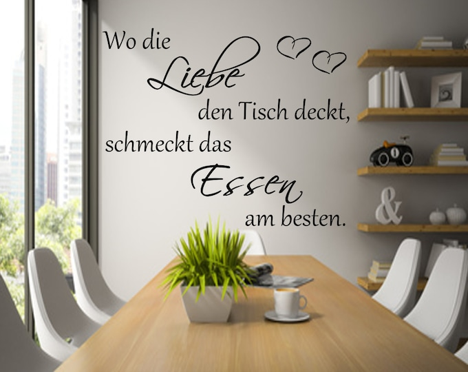 Wall decal kitchen Where love covers the table... AA050 Kitchen saying wall sticker wall saying wall text