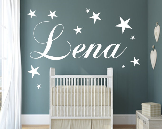 Stickers with name wall decal nursery baby room door girl boys personalized
