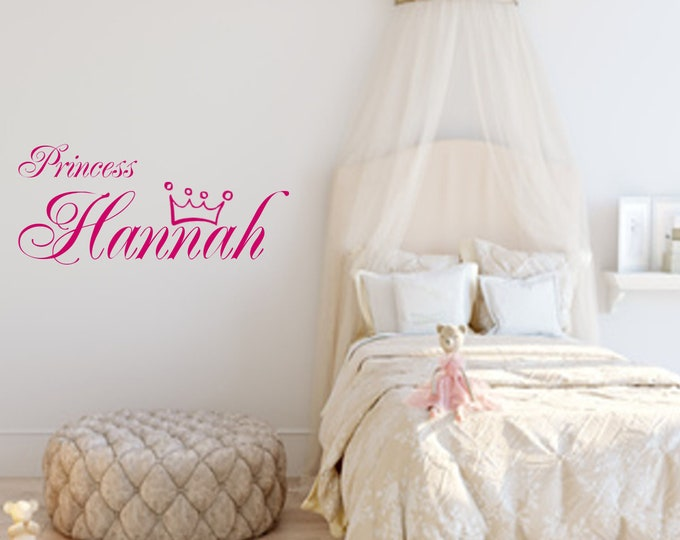 Wall tattoo Princess with name crown girl nursery wall sticker vinyl wall art