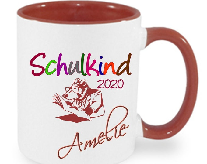 Gift for first day of school enrollment cup by name +++ School child 2020 girl boys