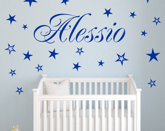 Wall decal name + 20 stars personalized nursery wall sticker AA120 girl,boy