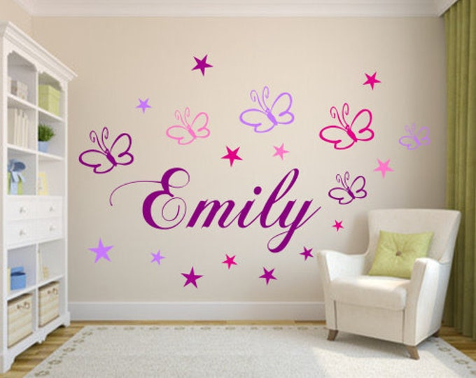 Wall Decal Nursery Name Butterflies+ Stars in Purple Pink Lilac Pink 19 Piece Set Girls Room