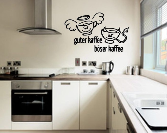 Wall decal wall sticker kitchen Good coffee bad coffee
