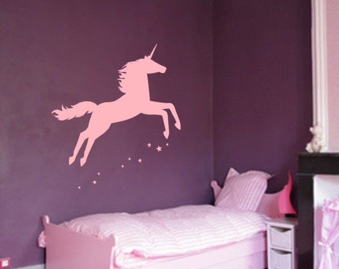 Girls Wall Decal EINHORN Wall Decal Nursery Baby XXL Sticker Stars Pink Pink Lilac...
