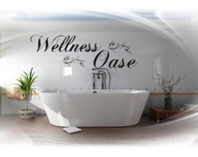 Wall decal wellness oasis bathroom wall decal sticker decoration