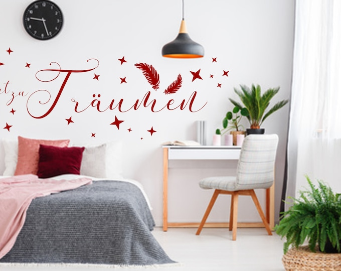 Wall Tattoo Time to Dream Wall Stickers Living Living Bedroom Hallway AA807++Feathers Star Stickers for the Wall