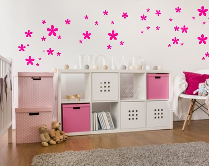 84 Wall Decal Flowers Nursery Girl Stickers Many Colors