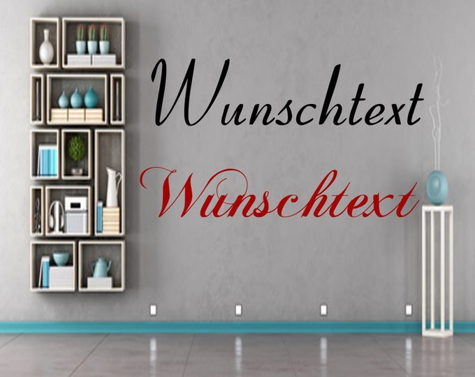 Wall decal WUNSCHTEXT 60 text as desired stickers for the wall door mirror glass furniture nursery living room hallway kitchen office...
