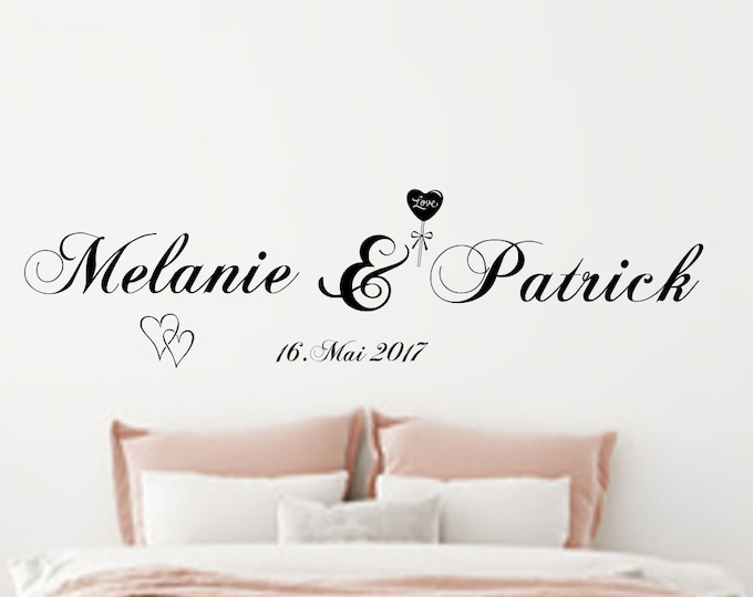 Wall sticker wall decal two names personalized Wall Sticker wall Decal