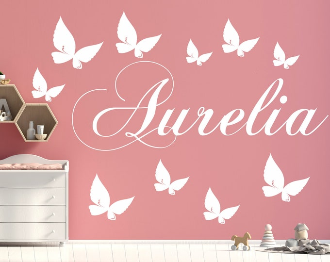 Nursery wall decal name with 10 butterflies girl room boys room nursery kids baby room door wall bed furniture
