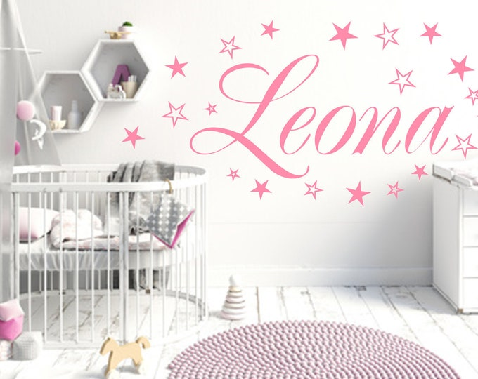 Wall Decals names Nursery pastel pink