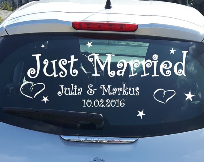 Just Married car sticker with name and date personalized for wedding ++ Bride groom car rear window