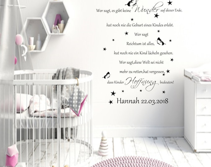 Wall decal baby saying birth name date saying Who says there are no miracles... Wall-Sticker Vinyl Wall Art