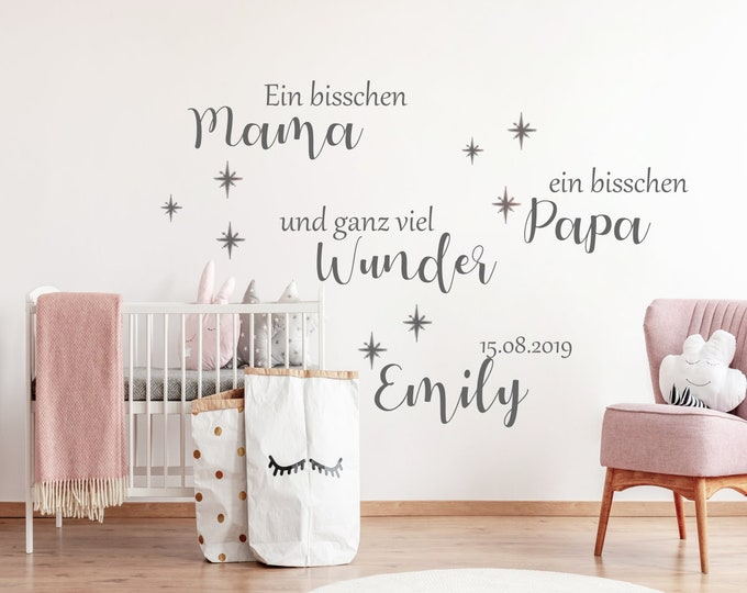 Wall decal A bite mom a bit dad and lots of wonder nursery AA614 name date girl boys baby room baby
