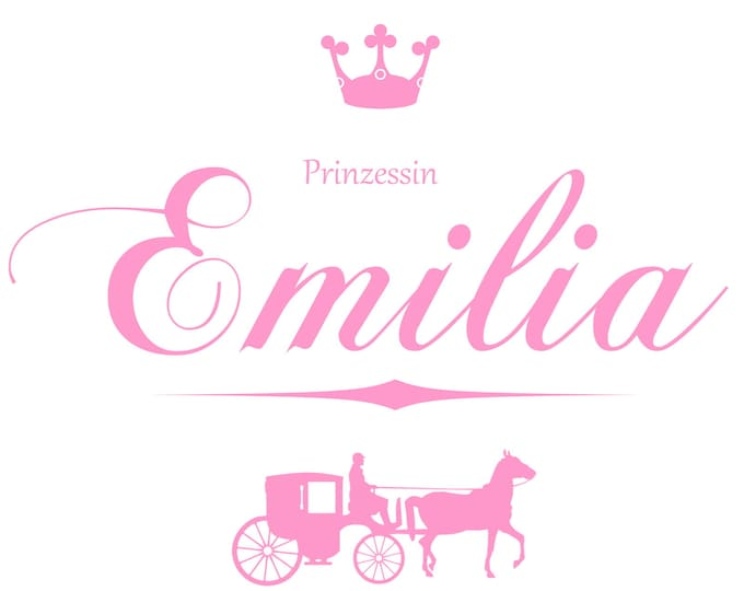 Wall decal princess with name and carriage for girls wall door furniture bed