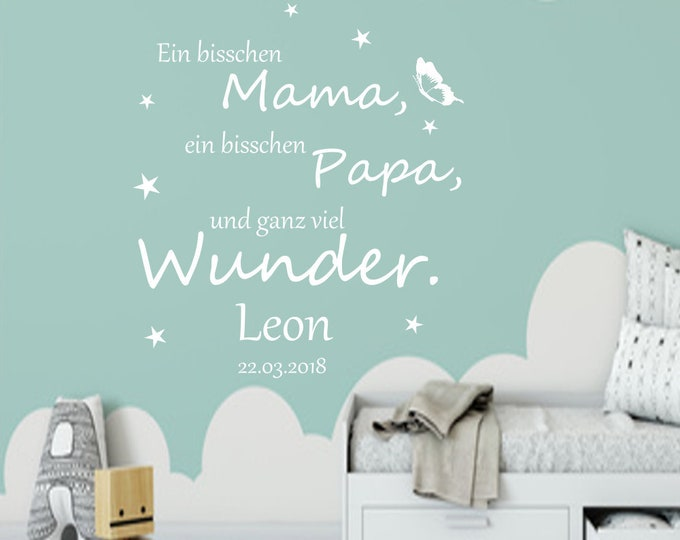 Wall Tattoo Wall Stickers with Name and Date Nursery Baby Room ++A Bit Mom...  Girls Boys