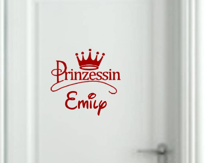Nursery door sticker wall decal with name and crown wish names personalized wallsticker girl, boy baby