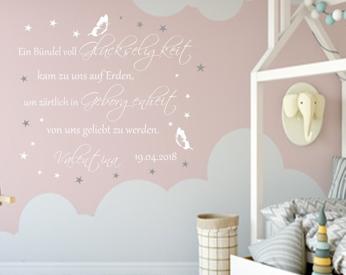 Wall decal nursery with name and date to design yourself++ A bundle full of bliss...++ Baby room saying girl boy AC019