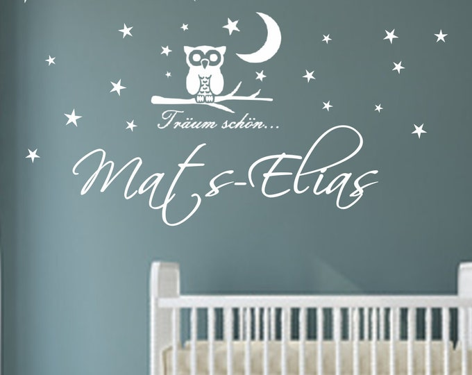 Wall decal wall decal with name nursery EULE moon stars personalized girl boys