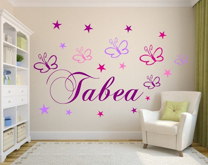 Wall decal with name nursery butterflies girls boys
