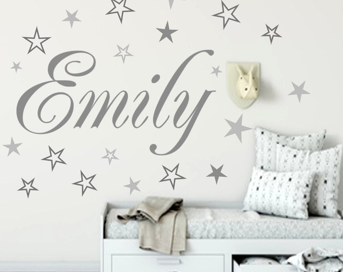 Wall decal nursery AA120 with name sticker door sticker personalized 20 star gift idea girl boys baby room MANY COLORS