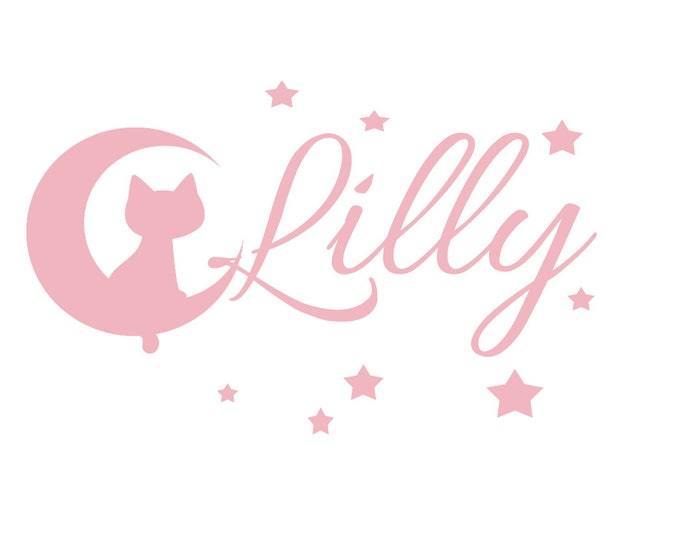 Wall decal with name nursery door girl boys personalized moon cat stars wall decal