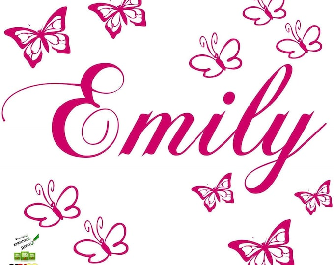 Wall decal personalized with name and 10 butterflies door stickers name sticker girl boys room nursery