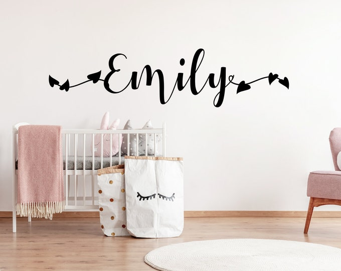 Wall Decal AA718 Name Personalized Nursery Many Colors Grey Pink Purple Smine Mint Turquoise.... Wall Sticker