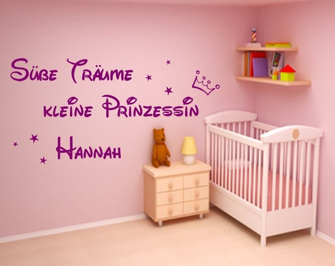 Girls Wall Decal Sweet Dreams Little Princess... Saying with name childrenalways girl's room