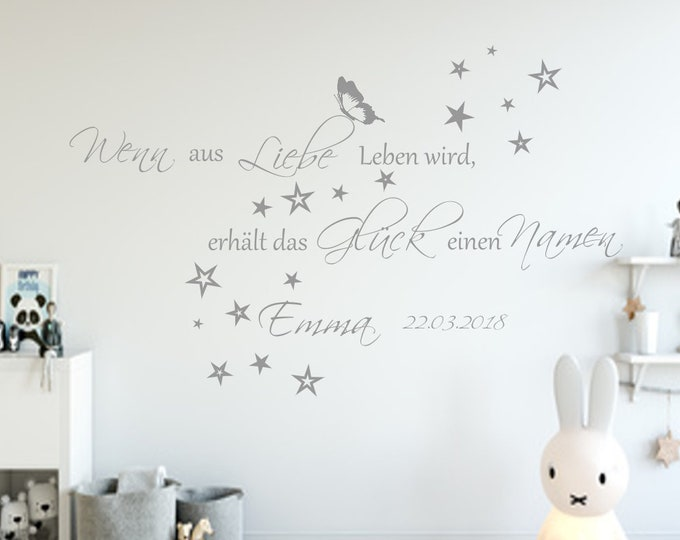 Wall Decals name Children's room wish name if out of Love Will live