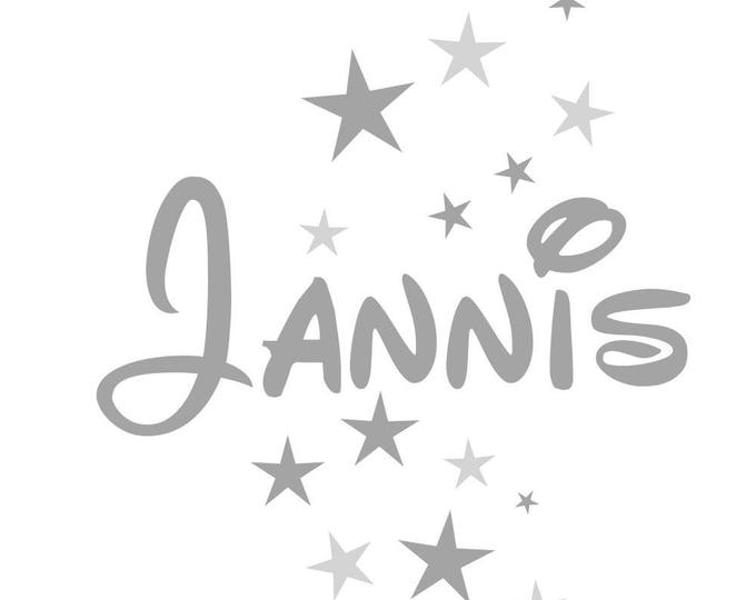 Kids Decal Wall Tattoo with Name and 16 Stars Gray and Many Other Colors++ Wish Names Personalized Child Girl, Boy