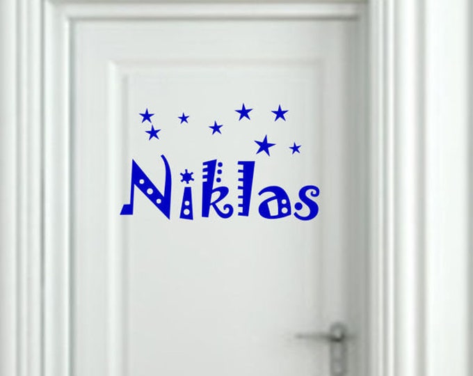 Name Decal Nursery Wall Decal Door Sign Door Decal Stars Boys Girls
