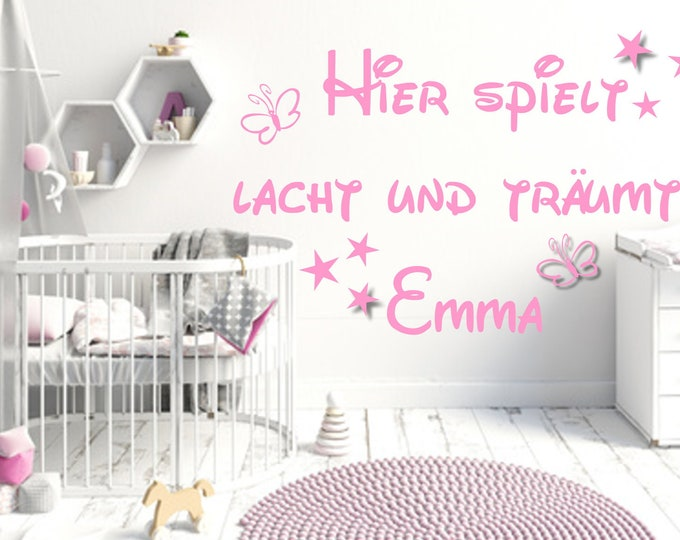 Wall decal with NAME Here plays laughs and dreams... Children's Room Baby Saying Door Sticker Wall Sticker