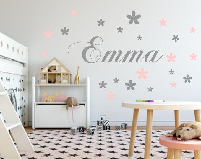Walltattoo Wall Sticker names children's room grey pastel pink mix with 20 flower sticker girl Wall Sticker vinyl wall Art