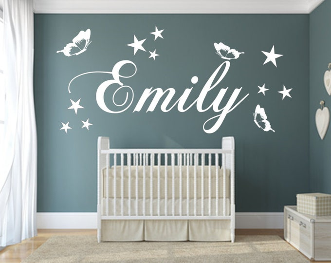 Wall decal personalized nursery names and butterflies/stars for girls and boys