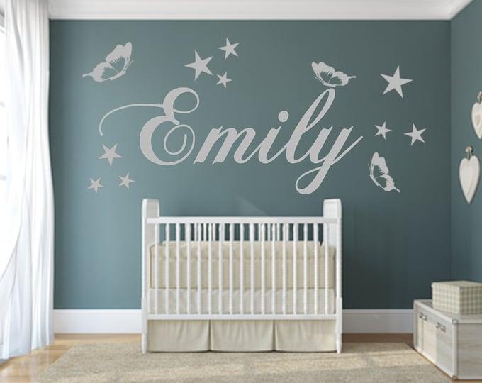 Nursery Wall Tattoo Names Butterflies Stars Personalized Girls Boys Baby Room