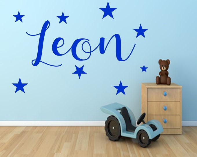 Wall decal nursery AC008 with name sticker door sticker personalized star child girl boy baby room MANY COLORS