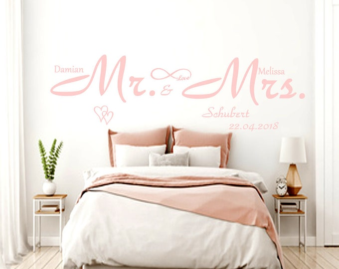 """Wall decal """"Mr. & Mrs."""" +Wish names wedding wall decal personalized"""