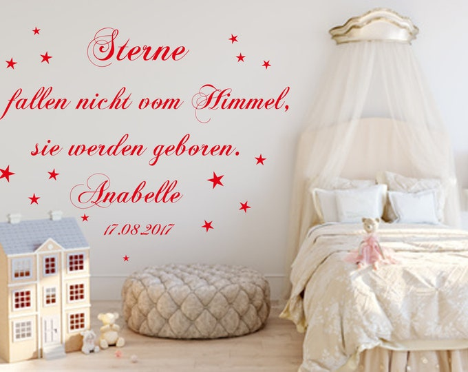 Wall decal wall sticker with name and date ++ Stars do not fall from the sky... Saying Nursery Baby Room Girls Boys