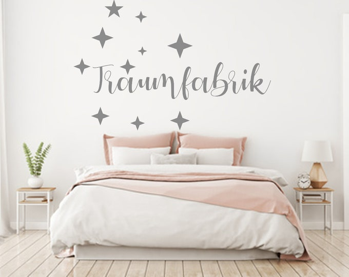 Wall decal dream factory stars bedroom saying wall sticker wall text