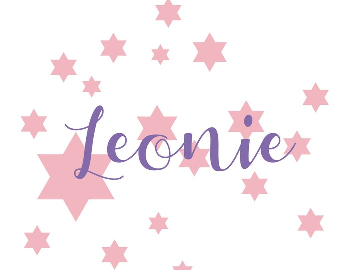 Kids Decal Wall Tattoo Names and 20 Stars Pastel Pink and Lavender Mix Creative Set++ Wish Names Personalized Child Girl