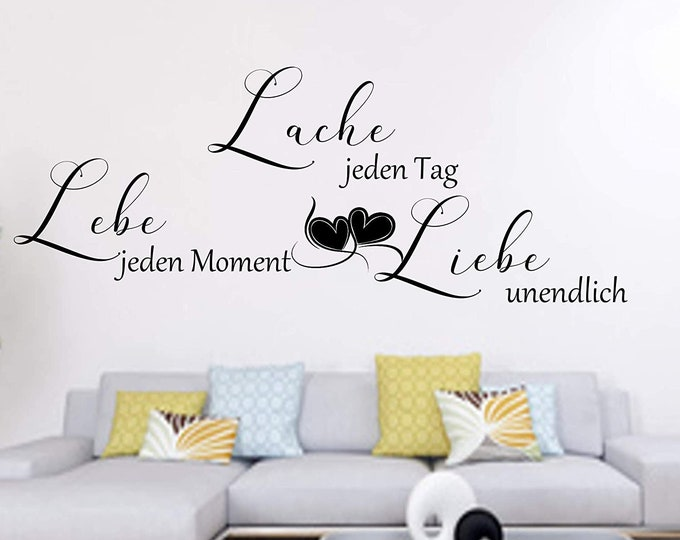 WallTattoo ++ Laugh Every Day Live Every Moment Love Infinite++Wall Sticker Bedroom Living Room Saying Swords