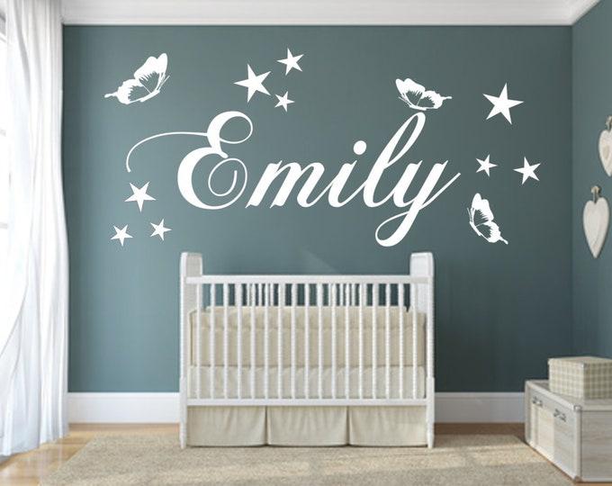 Name wall decal nursery sticker boys girl wall sticker door sticker personalized