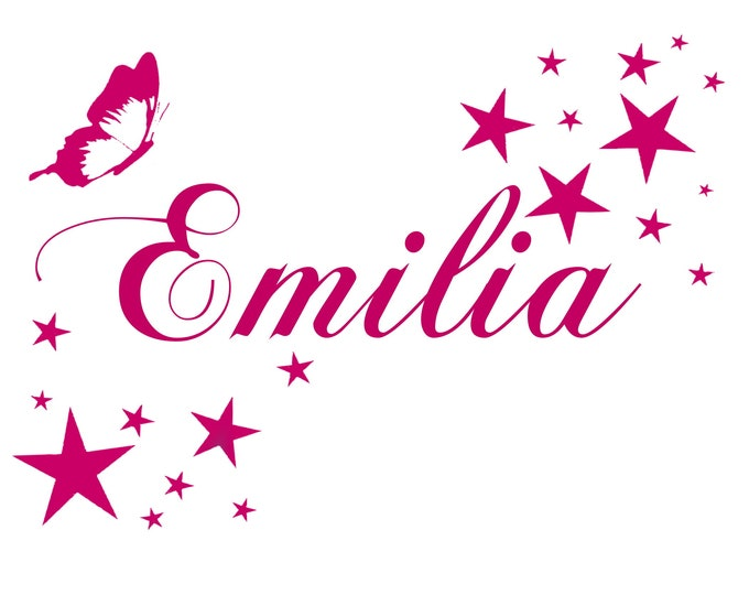 Wall Decal AA496 Nursery with Name +Butterfly Star Set Sticker Personalized Nursery Girl Boy MANY COLORS