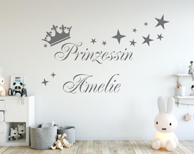 Wall decal girl princess name crown and stars sticker nursery